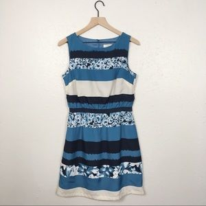 Loft floral striped fit and flare a line dress